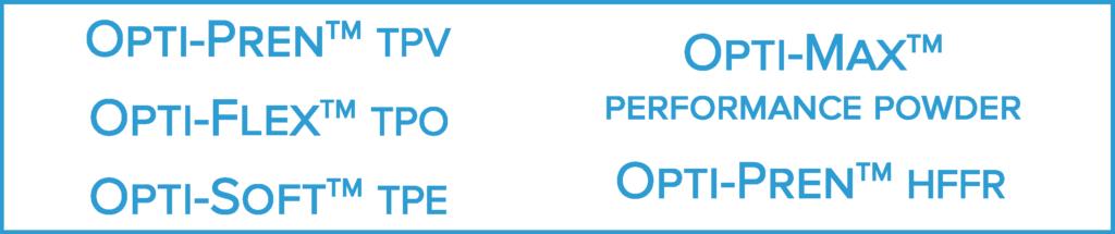 CCS products Opti pren tpv hffr opti flex tpo opti soft tpe opti max performance powder